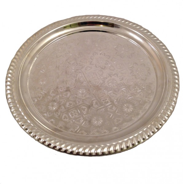 Marokkanisches Teetablett ohne Randmuster Silber