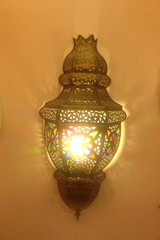 Orientalische Wandlampe Burg Fes-Gold