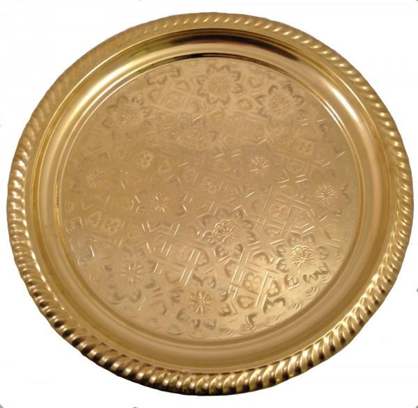 Marokkanisches Teetablett ohne Randmuster Gold