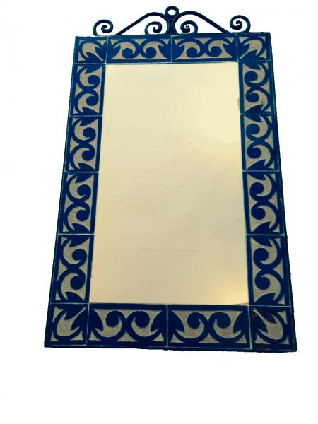Spiegel Agadir Viereckig mit Mosaik Fliesen Dunkelblau