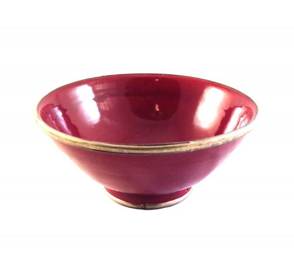 Keramikschale Salatschale Silberverzierung-Bordeaux
