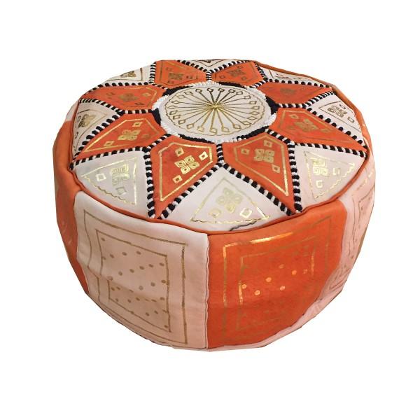 Marokkanisches Ledersitzkissen Rabat -Orange