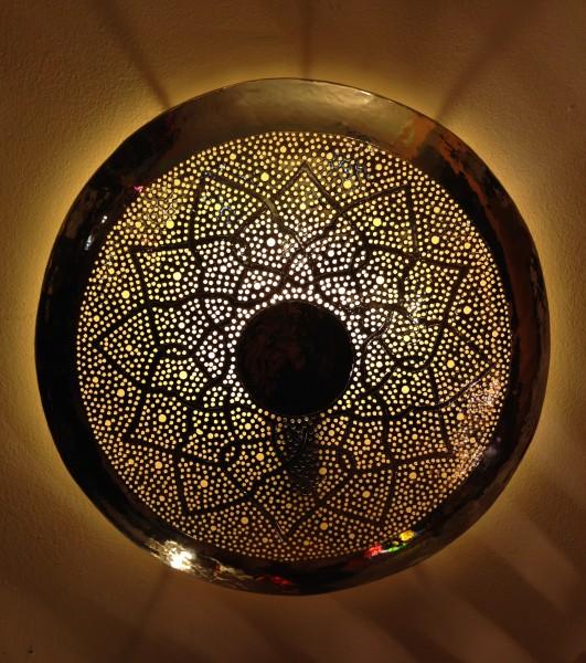 Orientalische Wandlampe Messinglampe Marrakesch Silber Rund
