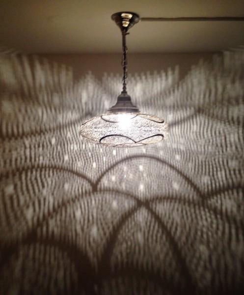 Orientalische edel Deckenlampe Messing Flach Silber