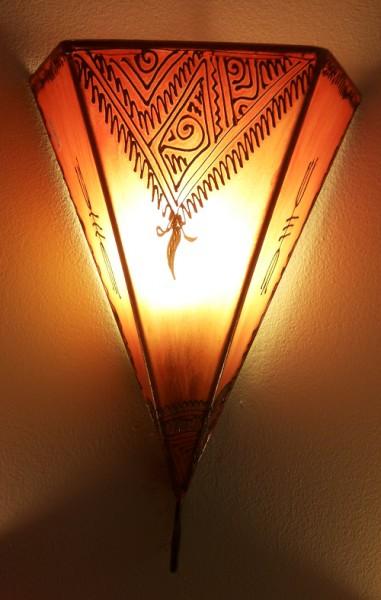 Wandlampe Hennalampe Eckig Orange