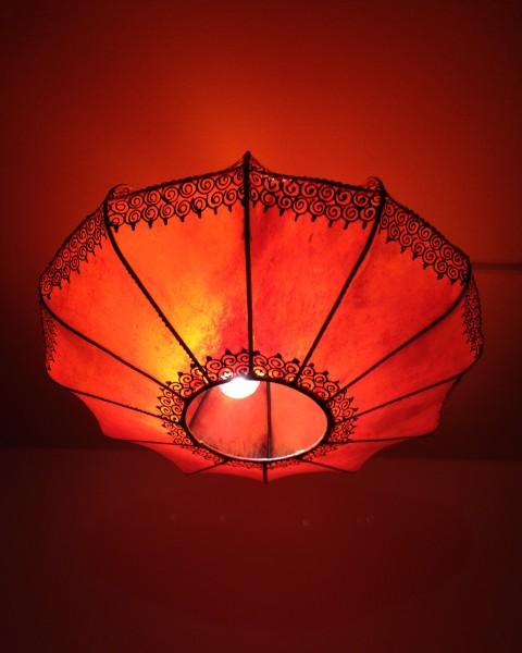 Orientalische Deckenlampe Hennalampe Marrakesch-Orange