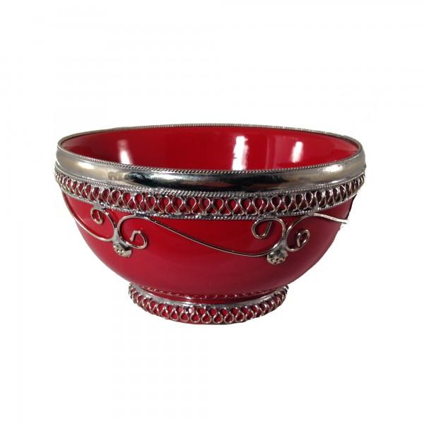 Keramikschale Silberverzierung Marrakesch-Rot