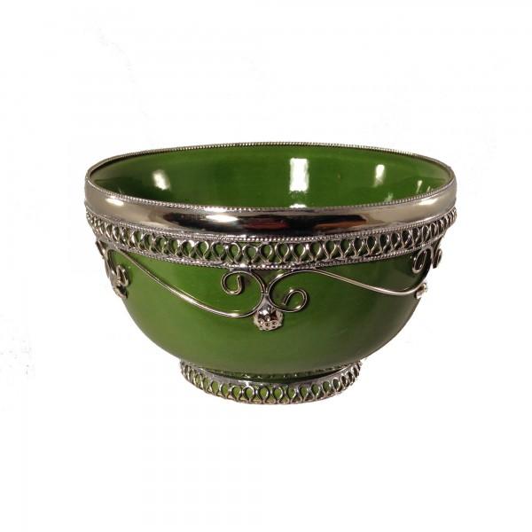 Keramikschale Silberverzierung Marrakesch-Hellgrün