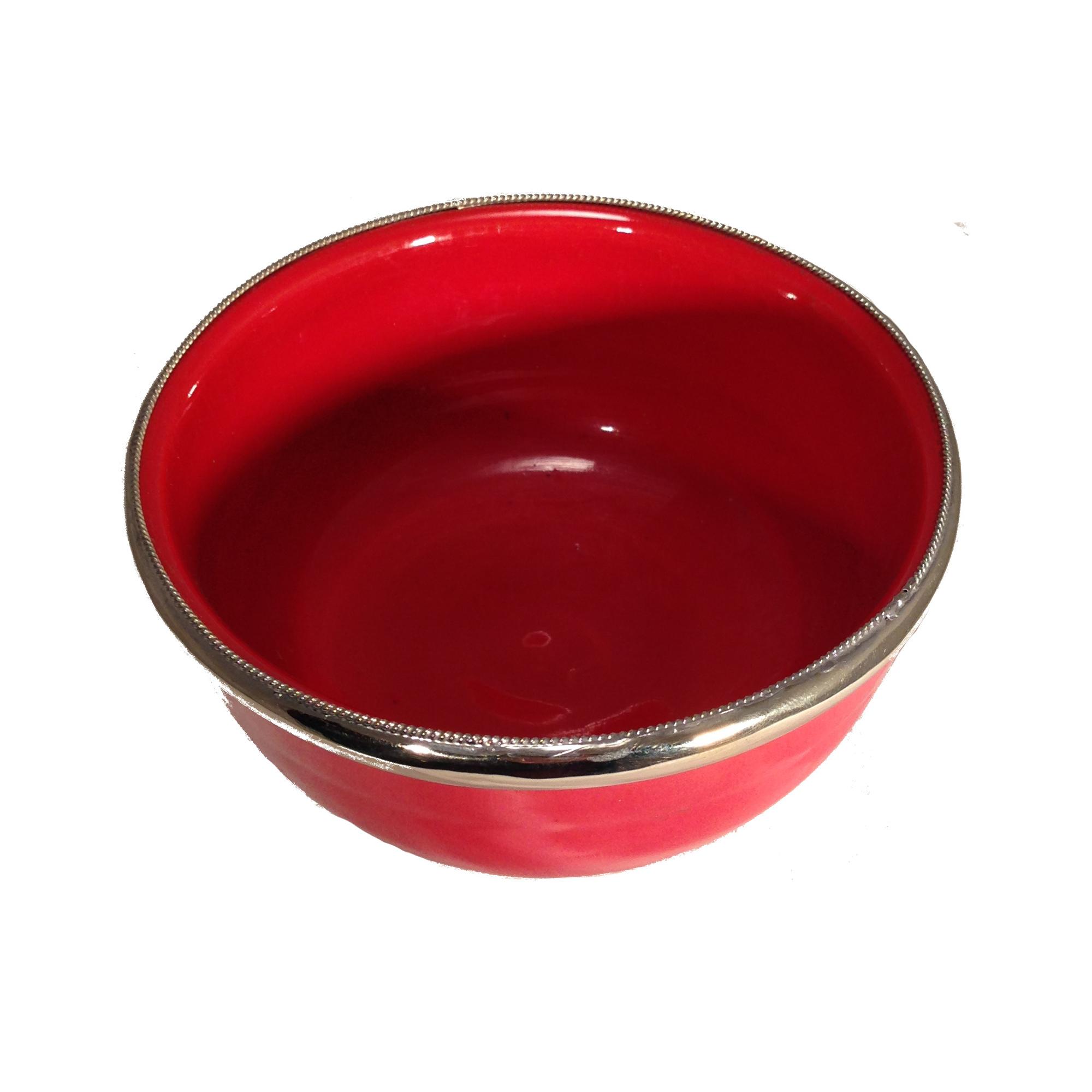 Keramikschale Simple Silberverzierung Marrakesch-Bordeaux