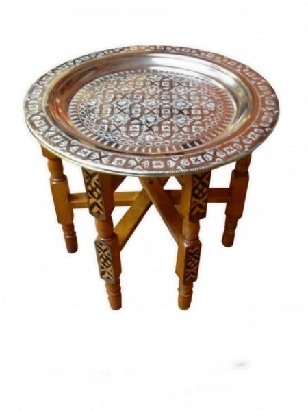 Teetisch mit Holzgestell Silber 60cm