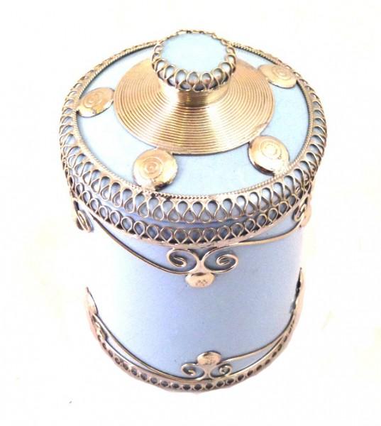 Orientalische Marokkanische Zuckerdose Keramik Silberverzierung Hellblau
