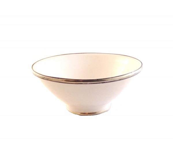 Keramikschale Salatschale Silberverzierung-Weiß