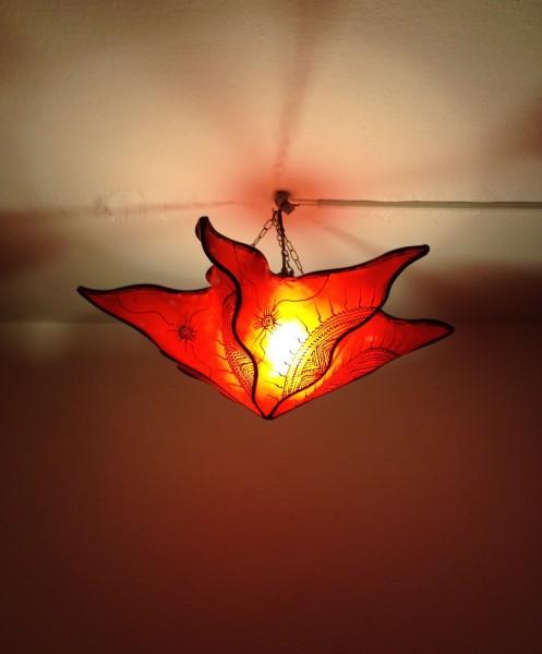 Deckenlampe Hennalampe Stern Rot