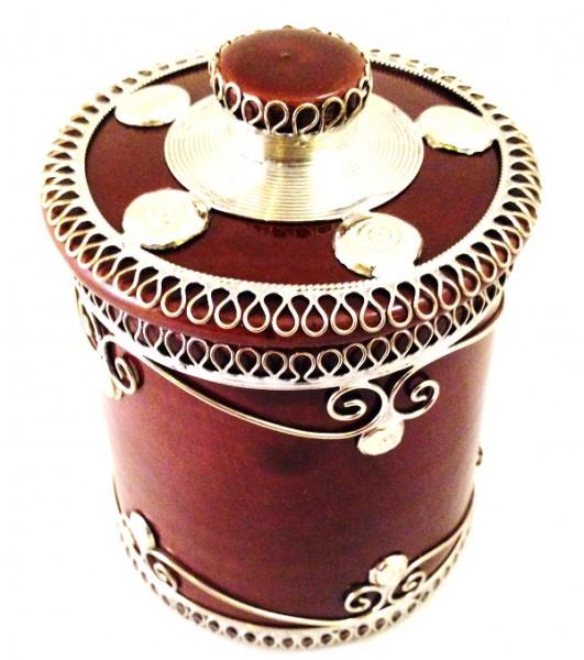 Orientalische Marokkanische Zuckerdose Keramik Silberverzierung Braun