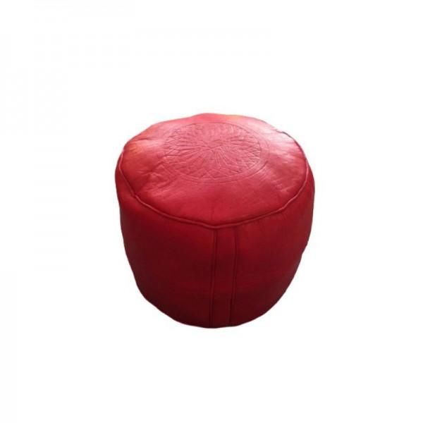 Marokkanisches Ledersitzkissen Fes -Rot