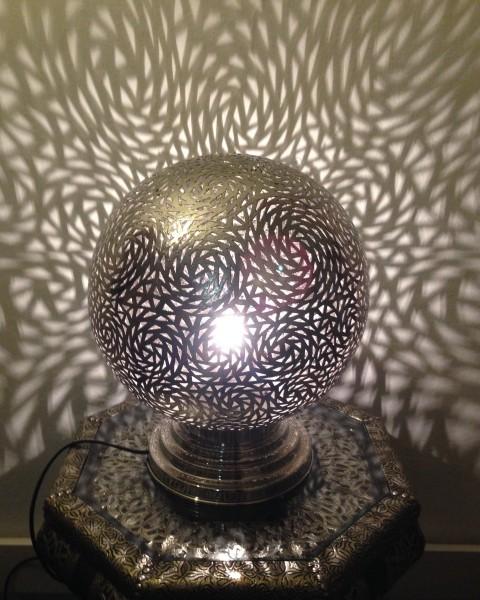 Orientalische Stehlampe Messinglampe Casablanca Rund Silber