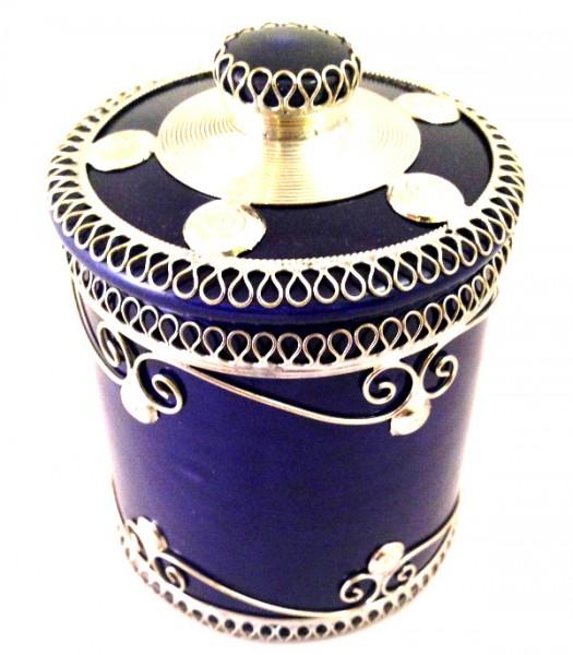 Orientalische Marokkanische Zuckerdose Keramik Silberverzierung Blau