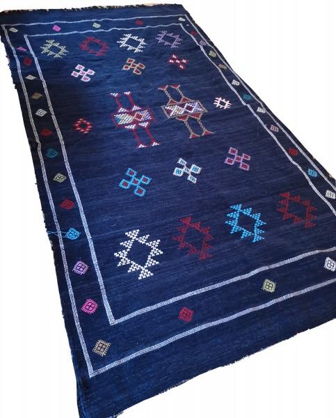 Orientalischer Berber Teppich Dunkelblau 2.30 x 1.35m