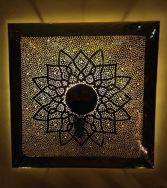 Orientalische Wandlampe Messinglampe Marrakesch Silber Viereckig