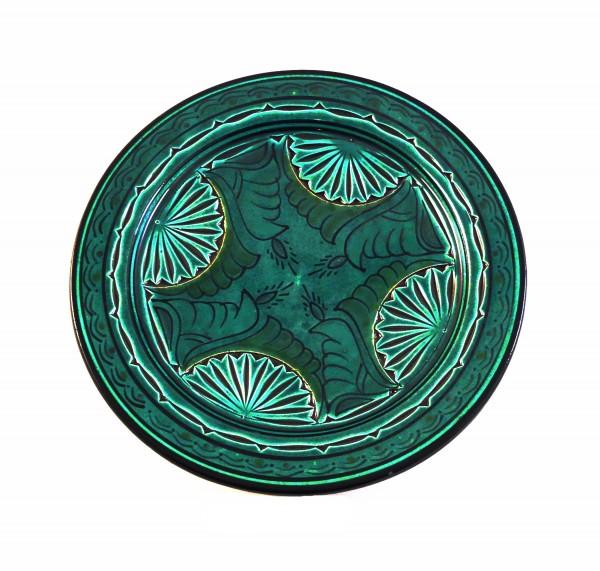 Keramikteller Assfi graviert Grün