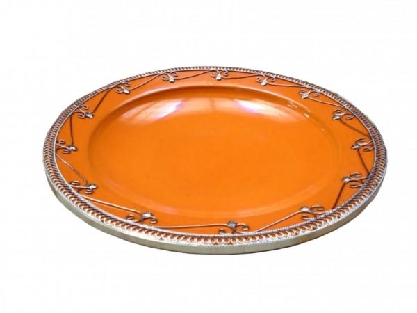 Orientalische Keramik Teller mit Silberverzierung Orange