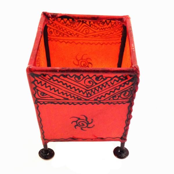 Kerzenhalter Windlicht Henna Viereckig Marrakesch-Rot