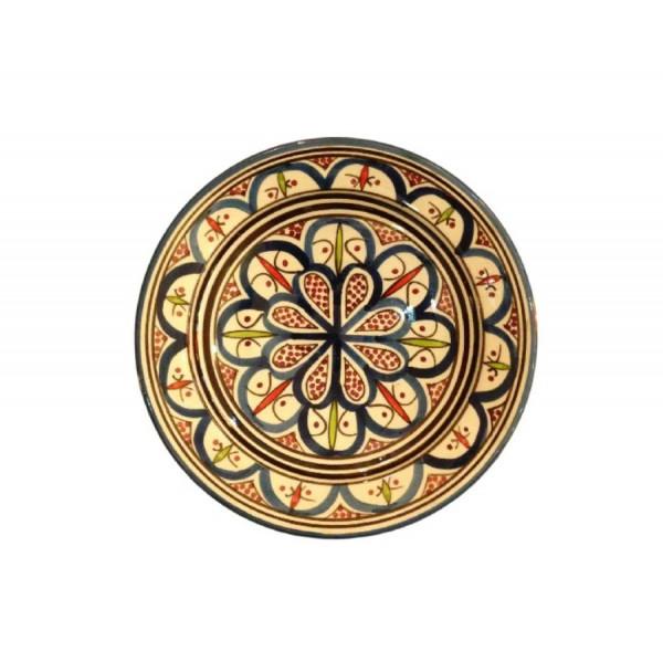 Orientalischer Marokkanischer Keramikteller Fes Türkis / Rot / Weiß