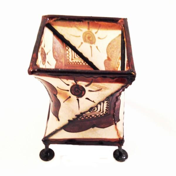 Kerzenhalter Windlicht Henna eckig gedreht Marrakesch -Braun