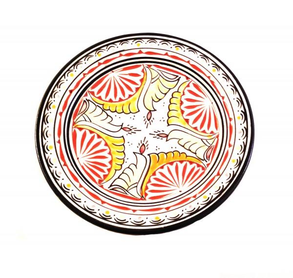 Keramik- Teller Assfi graviert Beige / Orange