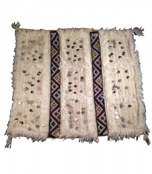 Berber Kissenbezug Atlas Kelim Weiß