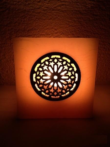 Orientalische Wachskerzenhalter Casablanca 1 Holzfenster Beige