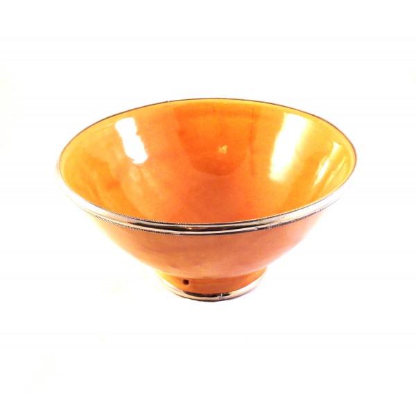 Keramikschale Salatschale Silberverzierung-Gelb